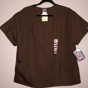 Brown nursing scrubs set.